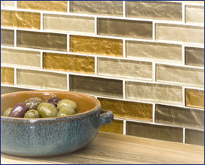 Close-up image of kitchen backsplash tiling featuring a neutral color scheme